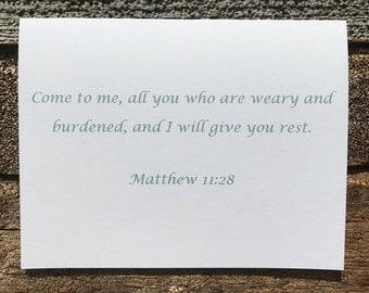 Matthew 11:28 Bible Verse Note Card
