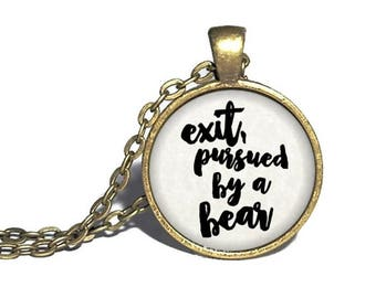 William Shakespeare, 'Exit, Pursued by a Bear', The Winter's Tale, Shakespeare Literary Necklace, Bracelet, Keychain, Ring