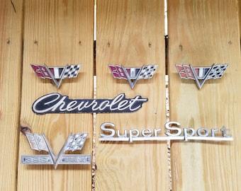 1960's Classic Chevrolet Emblems, Lot of 6, Rustic, Vintage