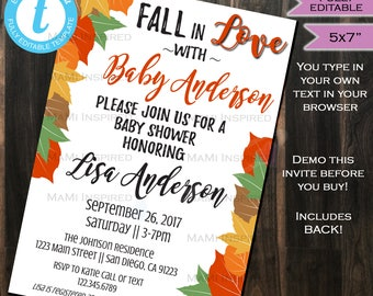 Fall Baby Shower Invitation- Fall Baby Sprinkle Invite Autumn Baby - Fall in Love - Leaf Pumpkin- Custom Printable INSTANT Self EDITABLE 5x7
