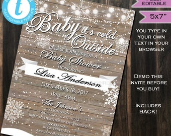 Baby it's cold outside Baby Shower Invitation - Gift Baby Snow Invite Winter Snowflake Template Custom Printable INSTANT Self EDITABLE 5x7