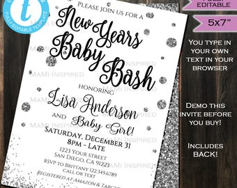New Years Eve Baby Bash Baby Shower Invitation Invite Silver Glitter Champagne Black White Template Custom Printable INSTANT Self EDITABLE
