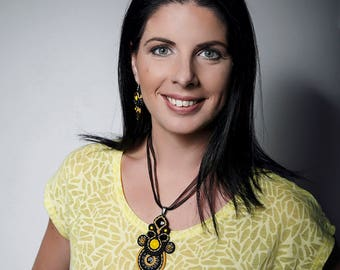 Bee soutache set, Black and yellow soutache set, Soutache jewelry, Pendant necklace, Soutache pendant, Gift for her