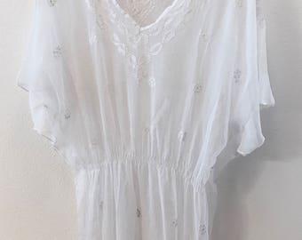 Boho White cover up tunic