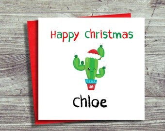 Personalised Christmas Card, Fun Christmas Card, Cactus Card, Card For Him, For Her, Girl, Boy