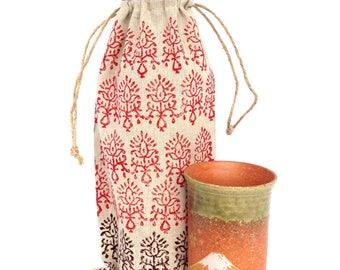 Wine holder Wine bag Henna art Linen gift bags Black Henna Wine gift Floral print Gifts for wine lovers Wine bottle holder Wine tote