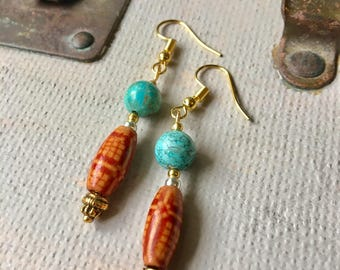 Turquoise and Ethnic Wooden Bead Earrings