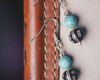 Turquoise and Ethnic Bead Earrings