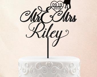 Custom Wood Gold Wedding Cake Topper Glitter Cake Topper With Date Couple Cake Topper 25