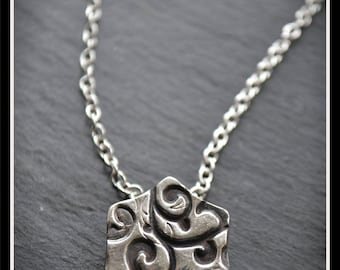Silver Hexagon Pendant or Hijab Pin - Silver Precious Metal Clay (PMC), Handmade, Necklace, Hijab Pin - (Product Code: ACM081-17)