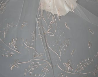 Fleur Veil - Hand Painted Long Veil by Miss Kay Seamstress