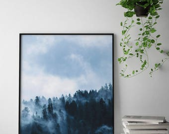 Misty Forest Art Print, Foggy Forest Print, Forest Wall Art, Minimal Forest Wall Decor, Forest Landscape Poster, Mountain Wall Art