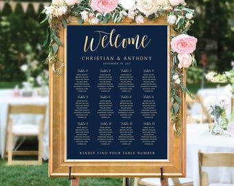 Navy seating chart, Poster wedding seating chart, Seating chart, Wedding seating chart, Wedding Table seating assignment, Find Your Seat 21B