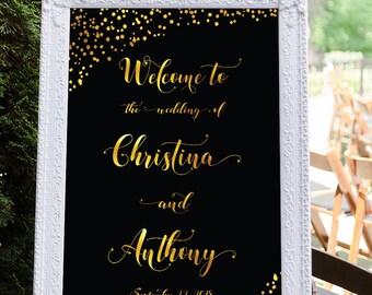Wedding Welcome Sign, Printable wedding welcome sign, Navy wedding welcome sign, Welcome wedding sign navy, welcome sign gold, Sign #29