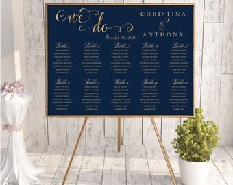 Navy wedding seating chart, Wedding seating chart poster, Wedding Seating Chart, Gold wedding seating chart, Seating chart template, SC171