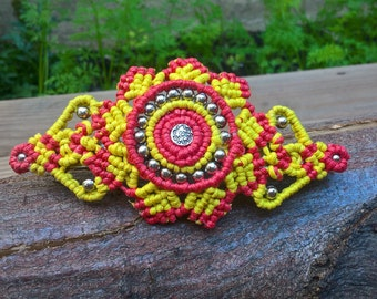 Sunny colourful Hair barrette with flower design, pink, yellow and silver