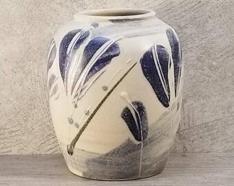 VTG 1960s-70s Signed Blue & White Studio Art Vase West German Pottery Midcentury Modern Fat Lava Era