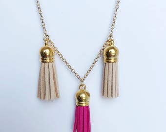 Pink & Tan Tassel Necklace