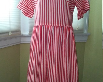 90s Red and White Striped Dress Size M-L