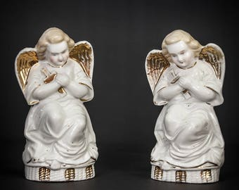 Pair of Beautiful Antique Porcelain Gilded Angels Winged Cherubs
