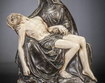 "Pieta Pipe Clay Sculpture | Virgin Mary Cradling Jesus Christ Statue | RARE Religious Figurine | 13"" Large"