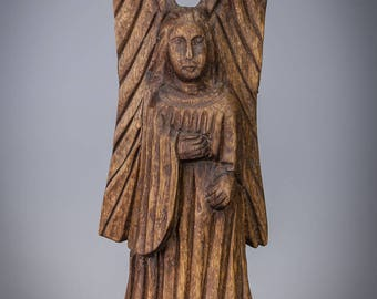 Antique 17th / 18th Century Wooden Angel Sculpture Hand Carved Archangel Wood Statue