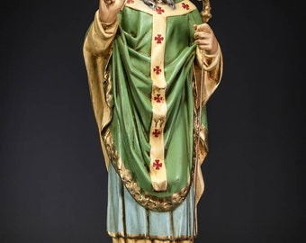 "St Patrick Statue | Apostle of Ireland Figure | Saint Bishop Figurine | Vintage Polychromed Plaster | 27"" Large"