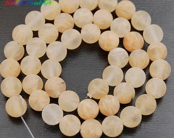 Natural Frosted Yellow Quartz Beads, Matte Gemstone Beads, Stone Round Natural Beads, 15''5 4mm 6mm 8mm 10mm 12mm