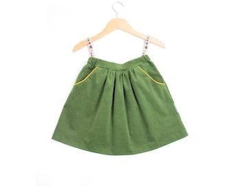 Girl's skirt from corduroy in green