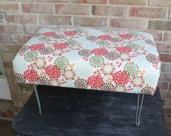 Vintage Foot Stool-Hairpin Legs-Upholstered Foot Rest-Upholstered Ottoman-Farmhouse Furniture-Shabby Chic-Coastal Decor