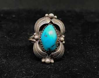 Vintage Old Pawn Sterling Silver and Turquoise Ring MARKED
