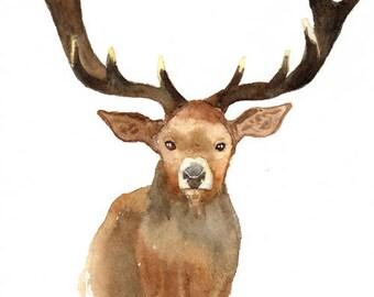 Elk art print , deer art print , nursery woodland animal , watercolor elk painting , forest animal art print , digital print download