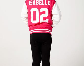 Personalised Children's Varsity Jacket Hot Pink