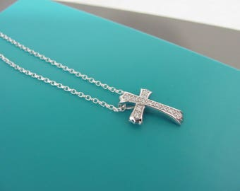 Sterling silver CZ Cross necklace, Silver Cross necklace, Sterling Cross necklace,  Sliding cross pendant,  Stone set cross, Baptism gift