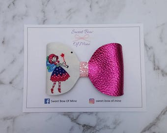 Large Fairy Bow Headband Or Clip | Fairy & Pink Leather | Baby Headband, Girls Clips, Big Bows