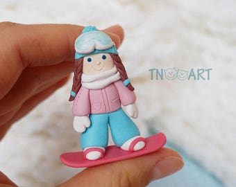 Snowboarder Girl Brooch / handmade polymer clay jewelry / Cute Lovely Pin girly blue rose pink colors snowboard