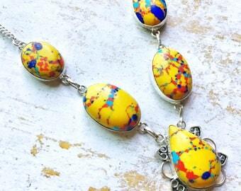 Gold Yellow Rainbow Mosaic Jasper Necklace