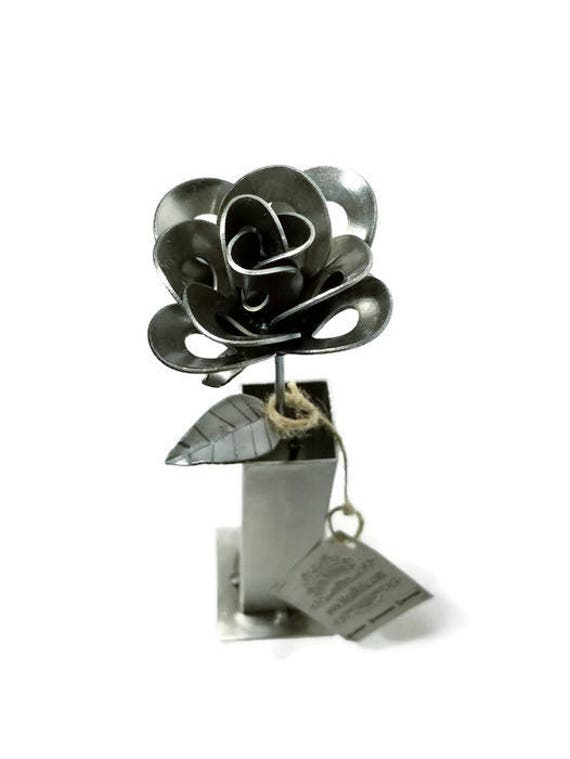 Metal Steel Forever Rose and Vase created by Welding Scrap Metal Steampunk Style making Unique Gifts and Home Decor!