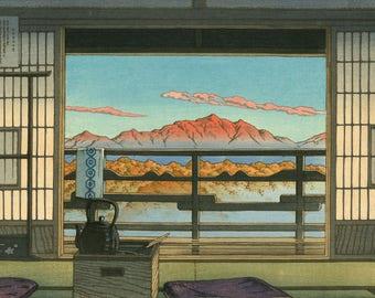 """Japanese Art Print """"Morning at the Arayu Spa, Shiobara"""" by Kawase Hasui, woodblock print reproduction, cultural art, Asian art, mountains"""