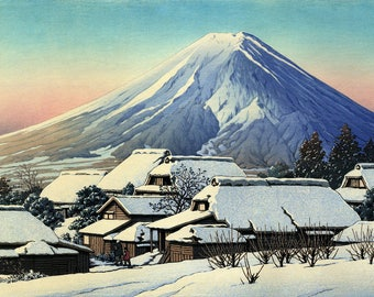 "Japanese Art Print Clearing After a ""Fine Morning after Snow at Yoshida"" by Kawase Hasui, woodblock print reproduction, landscape, winter"