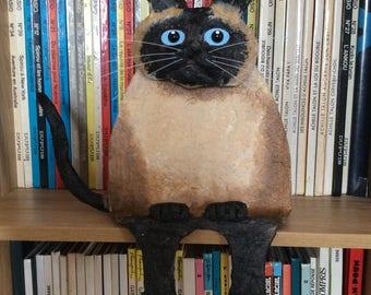 Fat Siamese cat, paper mache and acrylic.