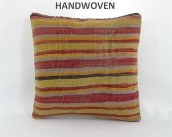 16x16 throw pillow decorative pillow kilim throw pillow cover boho throw pillow home decor AntiqueKilimPillows 001121
