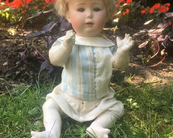 Rare Gebruder Heubach 10532 Model With Powdery Bisque And Antique Costume