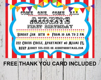 24hrs Turn around time, Carnival invitation, Carnival Birthday Invitation, Circus Invitation, Circus Birthday Invitation, Carnival Party