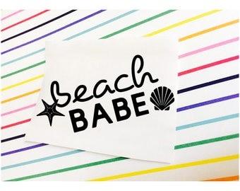 Beach Babe Decal, Beach Babe Sticker, Beach Babe, Beach Decal, Beach Sticker, Beach Car Decal, Car Decal, Laptop, MacBook