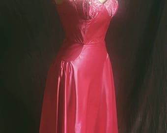 1950s crystal encrusted magenta showgirl gown