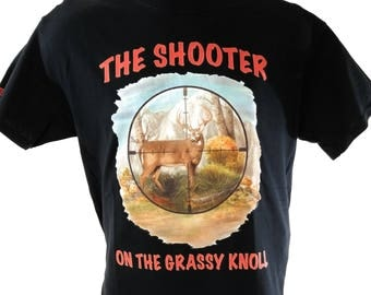 Whitetail Tees Funny Hunting shirt Shooter on the grassy Knoll