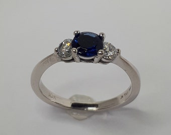 Sapphire Ring, Sapphire and Diamond Ring, Blue Sapphire Ring, Diamond Ring, September Birthstone, 10K White  Gold Sapphire , Free Shipping