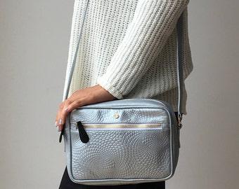 Colombian Leather Handmade handbag for women - silver crossbody bag