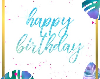 Tropical Beach-Themed Birthday Greeting Cards + Gift Tags Printable